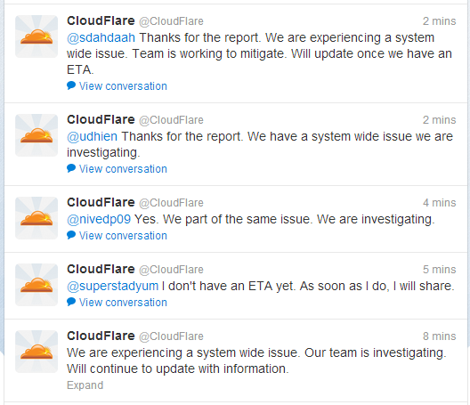 2013 03 03 11 19 01 CloudFlare CloudFlare on Twitter Over 785.000 websites were down due to an system wide network issue with CloudFlare
